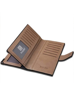 Black Leatherette Checkbook Credit Card Photo Holder Bifold Wallet