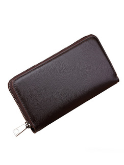 Brown Leatherette Zip-Around Clutch Wallet