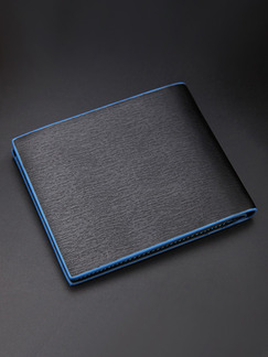 Black and Blue Leatherette Credit Card Photo Holder Bifold Wallet