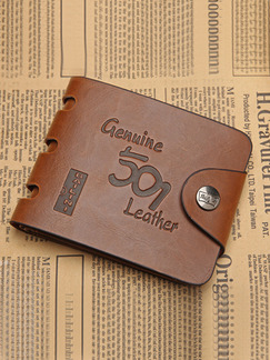 Brown Leatherette Cutout Embossed Bifold Wallet