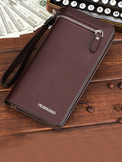 Brown Leatherette Zip-Around Bifold Clutch Wallet