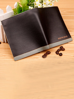 Brown Leatherette Linking Contrast Credit Card Bifold Wallet
