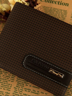 Brown Leatherette Grid Credit Card Bifold Wallet