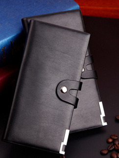 Black Leatherette Credit Card Photo Holder Checkbook Bifold Wallet