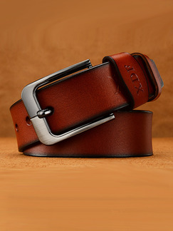 Brown Ratchet Metal and Leather Belt
