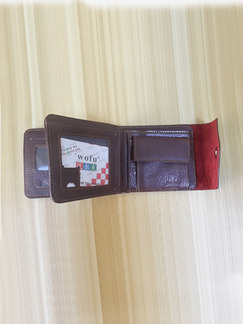 Brown Leatherette Credit Card Photo Holder Bifold Coin Purse Wallet