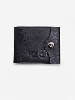 Black Leatherette Credit Card Photo Holder Bifold Coin Purse Wallet