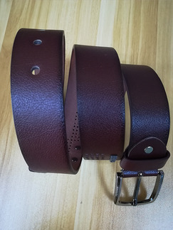 Brown Leather Ratchet Cutout Leather and Metal Belt