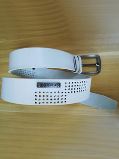 White Leather Ratchet Cutout Leather and Metal Belt