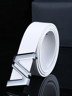 White Leather Ratchet Leather and Metal Belt