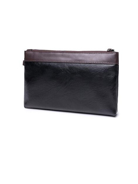 Black Leather Hand Holding Clutch Bag