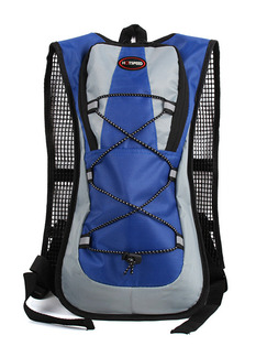 Blue and Grey Polyester Outdoor Sports Shoulders Backpack Hydration Bag
