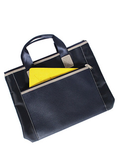 Navy Blue Oxford and PU Portable Office Tote Bag