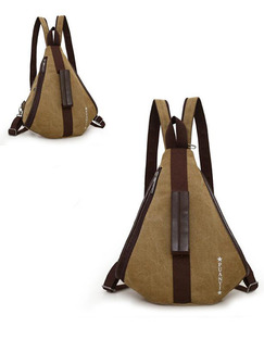 Khaki Canvas Canvas Leisure Multi-Function Shoulders Contrast Linking PU  Backpack Bag