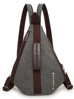 Grey Canvas Canvas Leisure Multi-Function Shoulders Contrast Linking PU  Backpack Bag