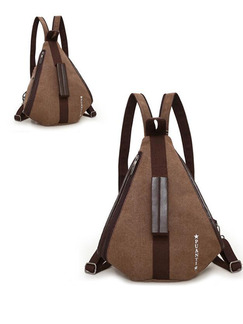 Brown Canvas Leisure Multi-Function Shoulders Contrast Linking PU  Backpack Bag