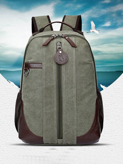 Green Canvas High-Capacity Leisure Shoulders Backpack Bag