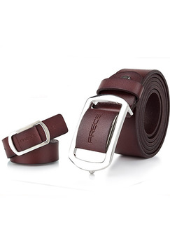 Brown Ratchet Genuine Leather and Metal Belt
