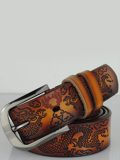Brown Ratchet Embossed Genuine Leather and Metal Belt