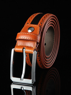 Black and Brown Ratchet Linking Genuine Leather and Metal Belt