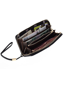 Black Leatherette Zip-Around Coin Purse Wallet