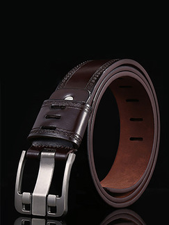 Brown Ratchet Cutout Leather and Metal Belt