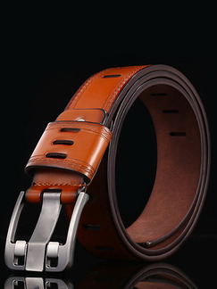 Apricot Ratchet Cutout Leather and Metal Belt