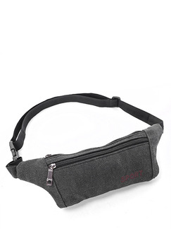 Grey Canvas Outdoor Sports Washed Fanny Pack Bag
