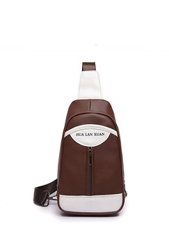 Brown and White Leather Outdoor Contrast Shoulder Crossbody Bag