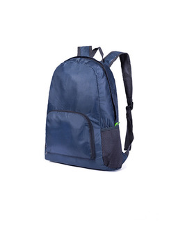 Navy Blue Nylon Outdoor Foldable Shoulders Backpack Bag