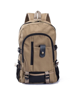 Beige Canvas Outdoor Washed Shoulders Backpack Bag