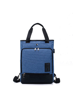 Blue and Black Polyester Contrast Linking Multi-Function Backpack Bag