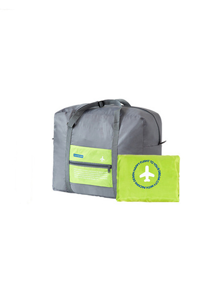 Green and Grey Polyester High-Capacity Portable Waterproof Foldable Weekender Luggage Bag