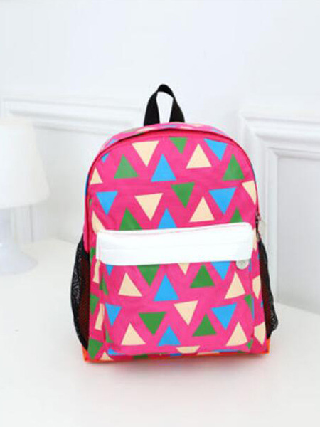 Purple Colorful Nylon Contrast Plaid School Shoulders Backpack Girl Bag