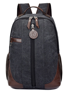 Black Canvas High-Capacity Leisure Shoulders Backpack Bag