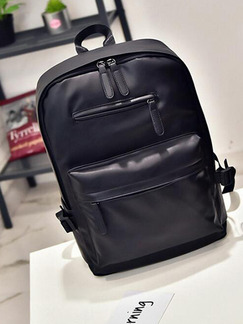 Black Leather High-Capacity Travel Shoulders Backpack Bag