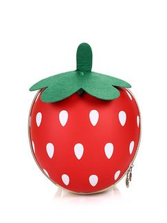 Red and Green EVA Cartoon Shoulders Scale Strawberry Modelling Zip-Around Hard Shell Bag