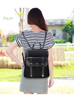 Black Artificial Leather Backpack bag