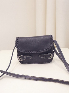 Black Leatherette Shoulder Crossbody Bag
