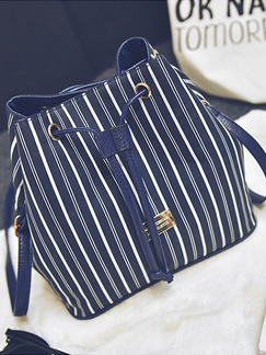 Blue and White Canvas Drawstring Shoulder Crossbody Bag