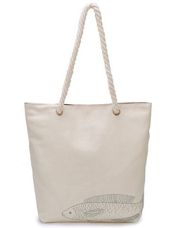 Cream Canvas Shopping Shoulder Tote Hand Bag
