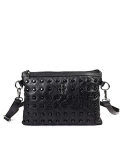 Black Leatherette Beaded Clutch Purse Shoulder Crossbody Bag On Sale