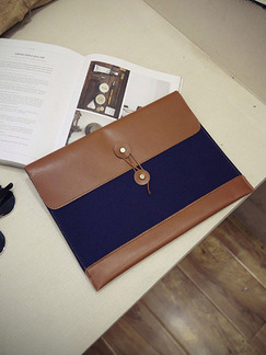 Brown Blue Leatherette Clutch Purse Bag