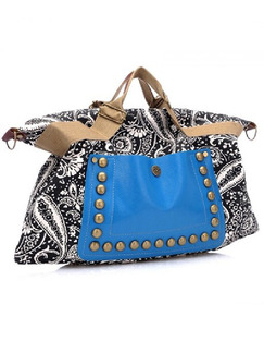 Black White Blue Canvas Beaded Shoulder Hand Bag