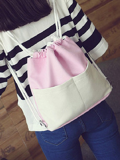 Pink White Canvas Drawstring Cute Backpack Bag On Sale