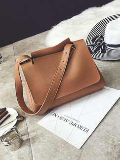 Brown Leatherette  Hand Bag On Sale
