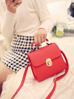Red Leatherette Satchel Shoulder Crossbody Hand Bag On Sale