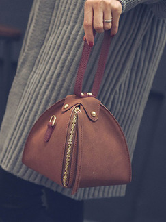 Brown and Red Suede Hand Bag