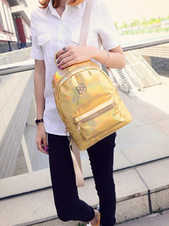 Golden Patent Leather Metallic Backpack Bag