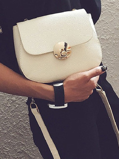 White Leatherette Chain Handle Shoulder Crossbody Bag On Sale